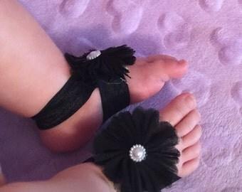 Elegant chiffon/pearl flower baby barefoot sandals  (3 pack)