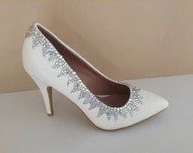 Wedding shoes in ivory and silver ~ sparkly flame themed bridal heels ~ Silver and white wedding shoes ~ bridal shoe can be made on low heel