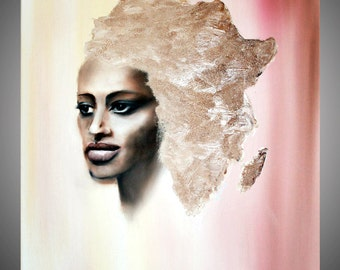 Africa - africa art - ocher picture - woman abstract painting - africa painting - sensual woman art - surreal - original painting - african