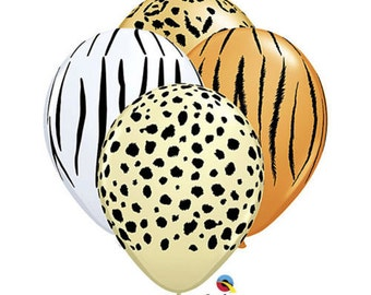 "12 Pack Safari Leopard Zebra Tiger Cheetah Animal Jungle Safari 11"" Latex Balloon"