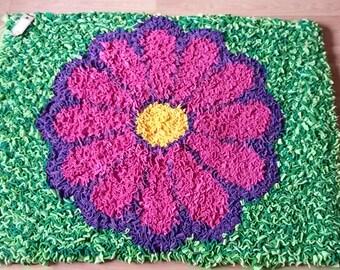 Unique Handmade Flower Proddy/Rag Rug, Floor Mat, Rug, Shabby Chic, Home Decor, Fleece, Hessian
