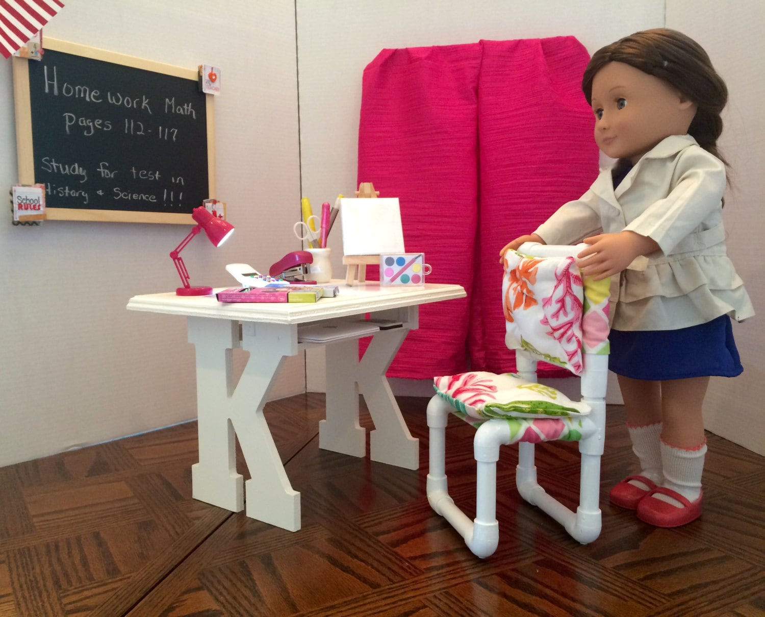 Desk and chair for the American Girl 18 Doll Custom