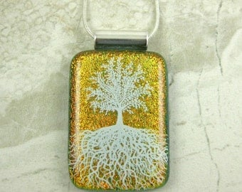 Orange Glass Tree of Life Pendant - Fused Dichroic Glass Tree Necklace - Green Tree Pendant