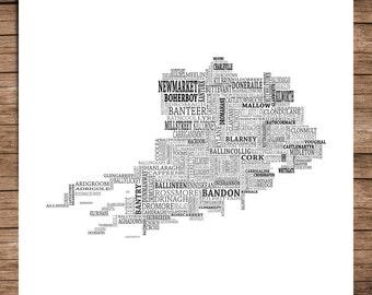 Cork - Typographical Map of County Cork, Ireland