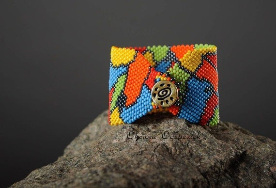 African Colorful beaded cuff African ornament bracelet ethnic style