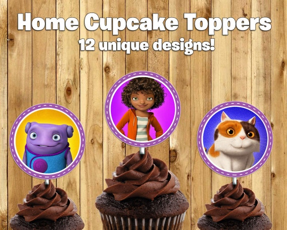 "Printable ""Home"" Cupcake Toppers -Download Print Home Cake Toppers Dreamworks Home Birthday Decoration Dreamworks Home Movie Cupcake Toppers"