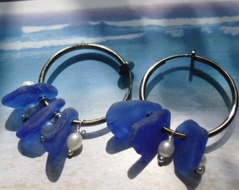 Genuine Blue Seaglass & Fresh water Pearl Earring for Non Pierced Ears- Clip on- Custom Color