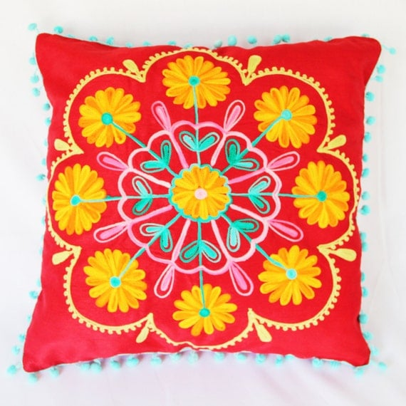 Decorative Floral Pillow Case Cover Cushion Throw (Red) (40x40cm)