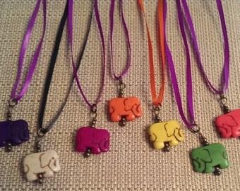 Elephant Stone Elephant Pendant ribbon necklace was 5.00 now 2.50
