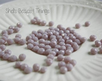 6mm Rondelle, Czech Glass Beads, Lavender Beads, Faceted Beads, Purple Beads, Jewelry Making Supply - 1 Strand = 100 Beads