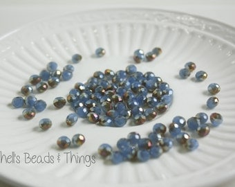 6mm Rondelle, Czech Glass Beads, Blue Beads, Faceted Beads, Gold Crystal Beads, Jewelry Making Supply - 1 Strand = 100 Beads