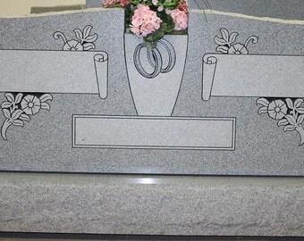 Cemetery Headstone Georgia Gray Granite Center Vase Tombstone Headstone Cemetery Grave Marker