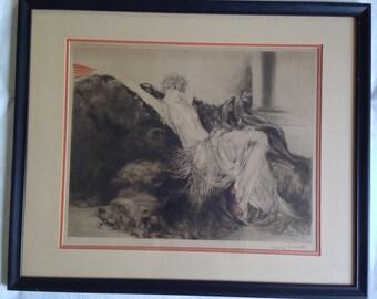 "Louis Icart Engraving ""Laziness"" 1926. Original Signed Print"