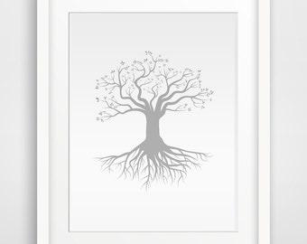 Tree with Roots Printable art, Wall Prints, Wall art, Grall print, Printable Wall Art, Home Print, Downloadable Wall Prints, Digital Art