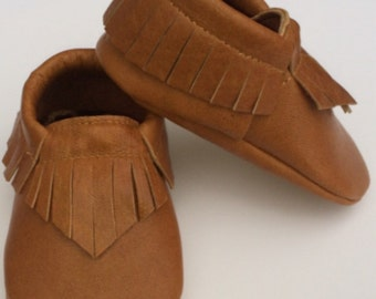 Cognac leather moccasins
