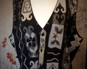 Vintage vest women 60% Merino Wool