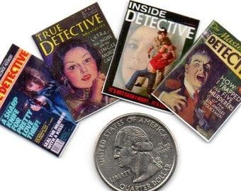 4 Miniature  'DETECTIVE'   Magazines  -  Dollhouse 1:12 scale