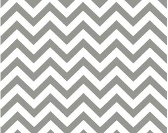 1 Yard Gray and White Chevron Fabric - Premier Prints Storm and White Twill Zig Zag Chevron Fabric ONE YARD