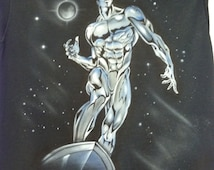 airbrushed silver surfer t shirt size xl