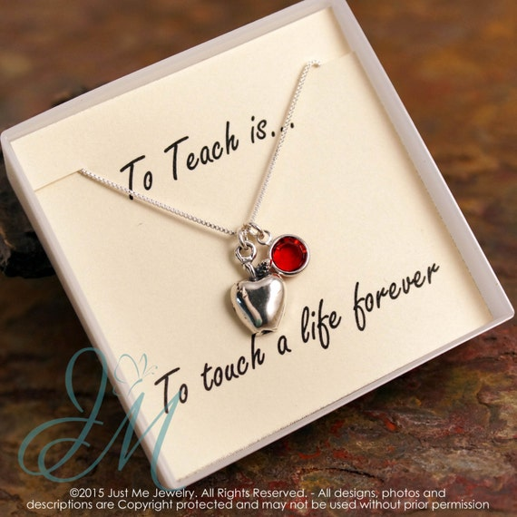 Teacher Necklace with birthstone - Sterling Silver Necklace - To Teach is to touch a life forever