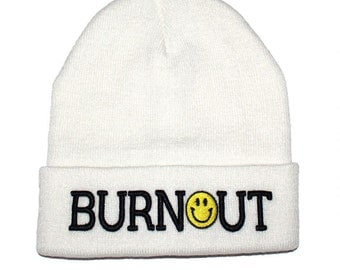 Burnout - White Embroidered Beanie