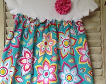 Bright Pink and Turquoise Flowered Onesie Dress and Headband Set