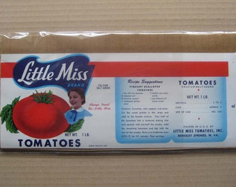 2 Labels 1952 Vintage Paper Vegetable Food Can Label Tomatoes West Virginia #3