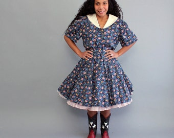 1980s square dancing dress, womens large . 2 piece dress set . floral blouse and skirt . circle skirt . western dress . square dance