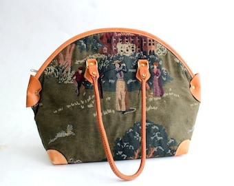 tapestry shoulder bag . vintage handbag . vintage purse by Ritter . Victorian golfers . lady golfers . large bag . leather & tapestry purse