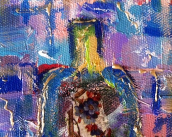 Collectible Small Art Original Mixed Media Collage Art/Mini Painting - Glass Bottle 1