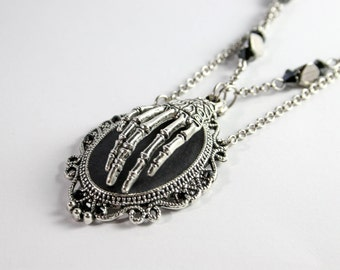 Gothic necklace - Hand of Death - black & silver frame