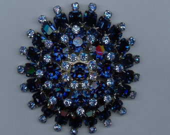 Huge 1950's Brooch in Shades Of Blue Rhinestones