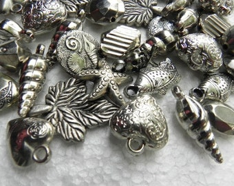 100 pcs different dsign -- Indian antique vintage  style, oxidized silver polished LUCITE BEADS
