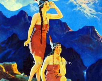 Indian Maidens Mountaintop 1920s Native American Pinup Girl Poster Print To Frame