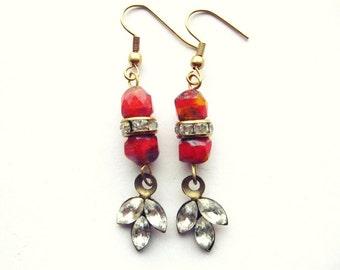 Mistletoe Kiss- Rhinestone Leaf Earrings
