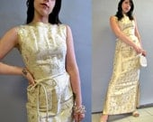 Vintage 1950's, Gold SILK BROCADE Dress, Marilyn Monroe Wiggle Style, Gown size 2/3 X Small