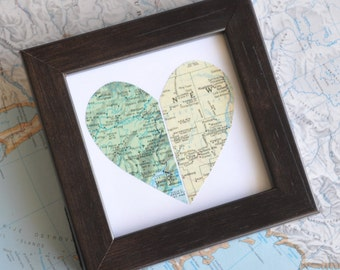 Personalized Gift for Long Distance Love Gift for Him Gift for Sister Gift for Best Friend Gift for Girlfriend Map Heart Framed