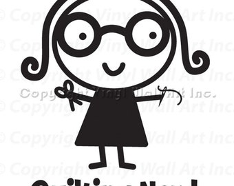 Quilting Nerd Vinyl Car Decal - Car Sticker, Laptop Sticker, Window Decal, Personalized Decal,