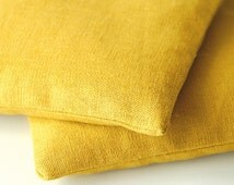 Goldenrod Yellow Modern Linen Lavender Sachets - Organic Lavender - Set of 2 Drawer Sachets