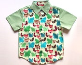 Little Boy Shirt - Arthur Collared Button Shirt (Original Print - Forest Raccoons)