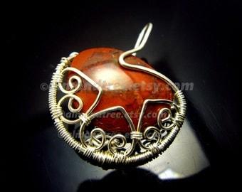Sale red pendant | wire wrapped | hippie | bohemian jewelry | stone | id1340500 | gemstone