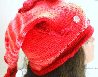 Rose The Handknit Fish Hat - OOAK - Handknit Novelty Hat - Fish Hat - Pink Hat - Funny Hat -Teen/Adult Size - Ready to Ship
