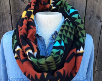 Black and red native american tribal inspired print southerst tribal blanket fleece infinity scarf cowl