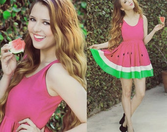 Limited Edition New York Couture WONDERLAND Collection Ombre Pink Mouth-watering WATERMELON Dress (last one left)