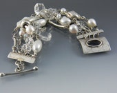 White Pearl and Sterling Silver Menagerie Five Strand Bracelet with Handmade Sterling Toggle