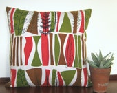 Stunning Vintage Pillow Cover 50s Mary White Coppice Fabric Cushion