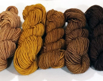 Hand-dyed Merino/Nylon Yarn - Golden Brown Gradient Palette - gold, brown, tan, buff