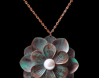 Distressed Copper Flower Statement Necklace 24""