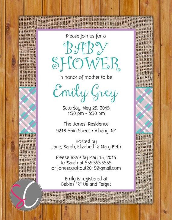 burlap baby shower invitation purple teal plaid invite it 39 s a girl diy