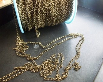 Full roll continuous footage 300 feet of Antiqued gold, antiqued bronze bulk necklace chain
